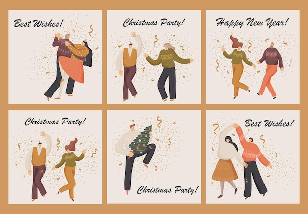 Greetind card with people celebrates christmas.