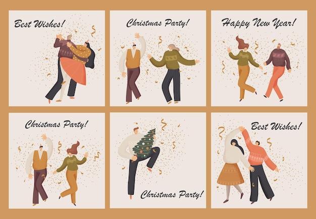 Поздравительная открытка с людьми празднует рождество.