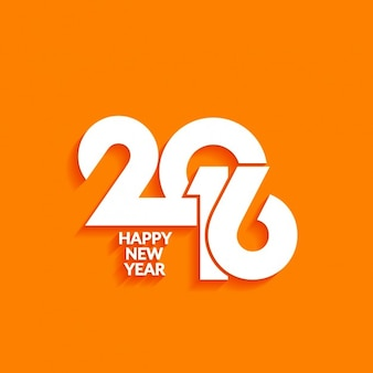 Greeting of 2016 with orange background