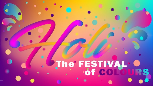 Greeting banner in disco style for holi festival