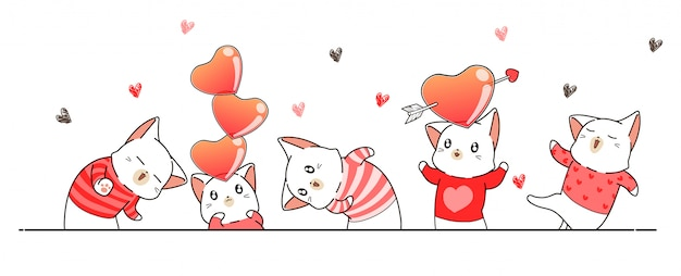 Greeting banner with cat characters for valentines day