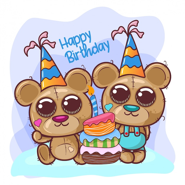 Greeting birthday card with cute bear - illustration