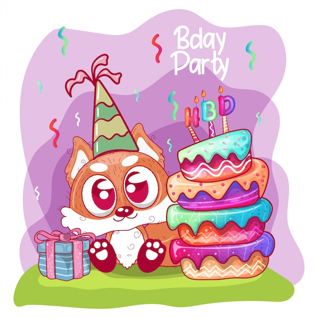 Greeting birthday card with cute  fox