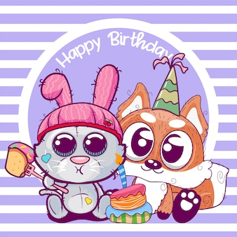 Greeting birthday card with cute kitten and fox