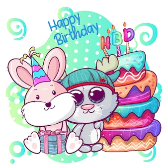 Greeting birthday card with cute kitten and rabbit