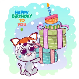 Greeting birthday card with cute kitten