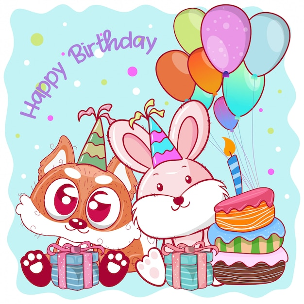 Greeting birthday card with cute rabbit and fox
