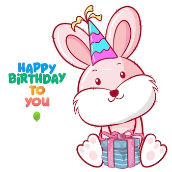 Greeting birthday card with cute rabbit