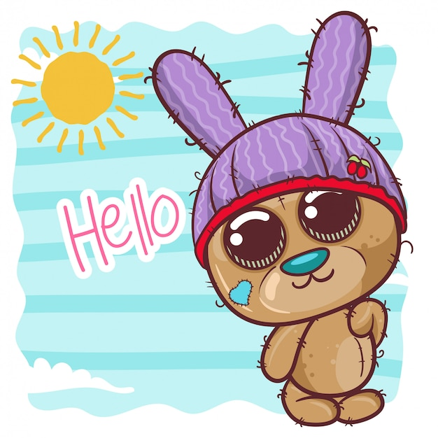 Greeting birthday card with cute teddy bear - illustration