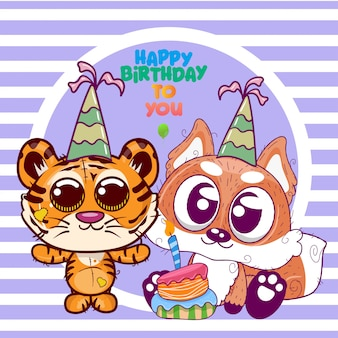Greeting birthday card with cute tiger and fox - illustration