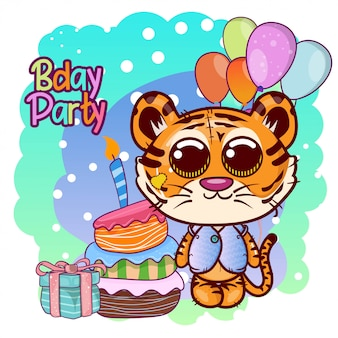 Greeting birthday card with cute tiger - illustration