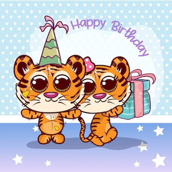 Greeting birthday card with two cute tigers - illustration