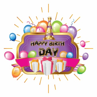 Greeting birthday elegant purple with gold