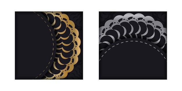 Greeting brochure in black with gold indian ornament