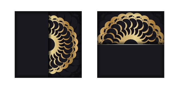 Greeting brochure in black with gold indian pattern
