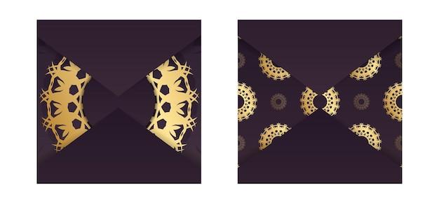 あなたのデザインのための豪華な金のパターンでバーガンディ色の挨拶パンフレット。