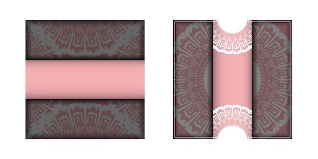 おめでとうございます、ヴィンテージの白い飾りが付いたピンク色の挨拶パンフレット。