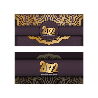 Greeting brochure template 2022 merry christmas and happy new year burgundy color with luxury gold pattern
