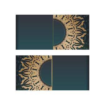 축하를 위한 고급스러운 골드 장식이 있는 그라데이션 그린 색상의 인사말 브로셔.