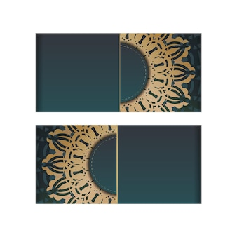 Greeting brochure with gradient green color with luxurious gold ornaments for your congratulations.
