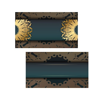 Greeting brochure with gradient green color with luxurious gold pattern for your congratulations.