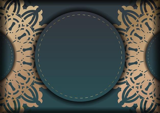 あなたのブランドのための豪華な金の装飾品とグラデーションの緑色の挨拶パンフレット。