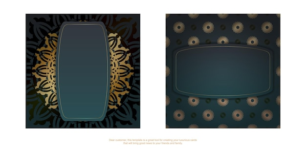 Greeting brochure with gradient green color with mandala gold pattern prepared for printing.