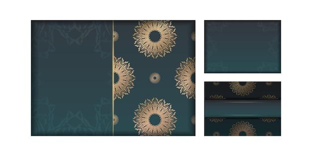 귀하의 브랜드에 대한 빈티지 골드 패턴이 있는 그라데이션 녹색 색상의 인사말 브로셔.