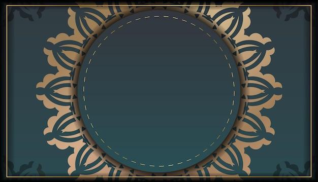 디자인을 위한 빈티지 골드 패턴이 있는 그라데이션 녹색 색상의 인사말 브로셔.