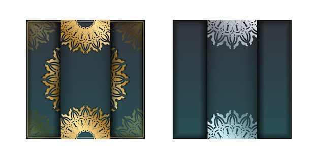 Greeting brochure with gradient green color with vintage gold pattern for your congratulations.