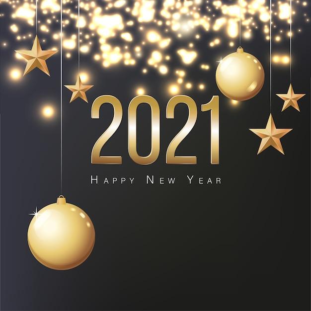 인사말 카드 2021 새해 복 많이 받으세요. 골드 크리스마스 공, 별 및 텍스트에 대 한 장소 그림. 새해 2021 이브 파티 축하를위한 전단지, 포스터, 초대장 또는 배너. 검정색 배경