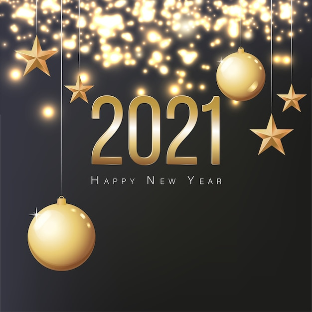 Greeting card 2021 happy new year. illustration with gold christmas balls, stars and place for text. flyer, poster, invitation or banner for new year's 2021 eve party celebration. black background