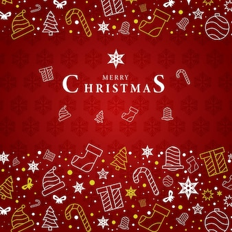 Greeting card abstract merry christmas outline creative