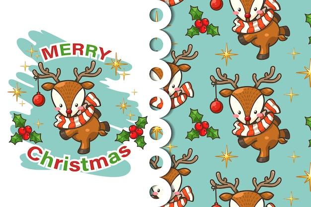 グリーティングカードとパターン鹿のクリスマス漫画
