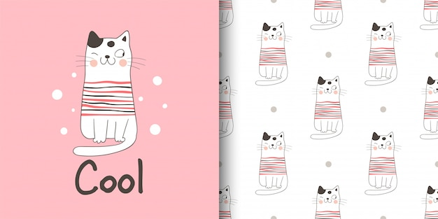 ファブリックテキスタイルの子供のためのグリーティングカードとプリントパターン猫。 Premiumベクター