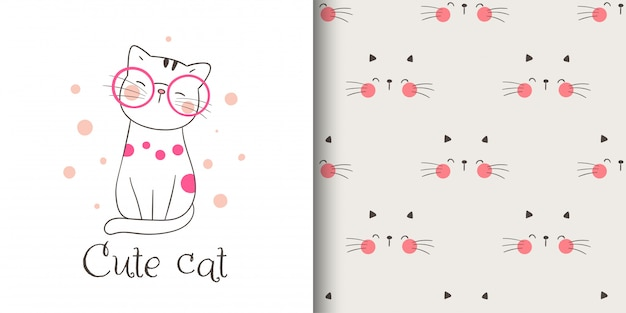 グリーティングカードとプリントのシームレスなパターンは、ファブリックテキスタイルの子供のための猫をカットしました。 Premiumベクター