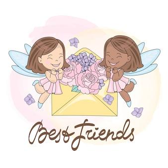 Greeting Card BEST FRIENDS Color Vector Illustration for Scrapbooking and Digital Print