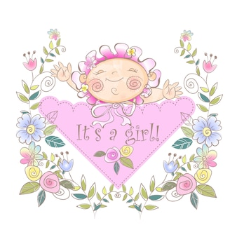 Greeting card for the birth of a girl.