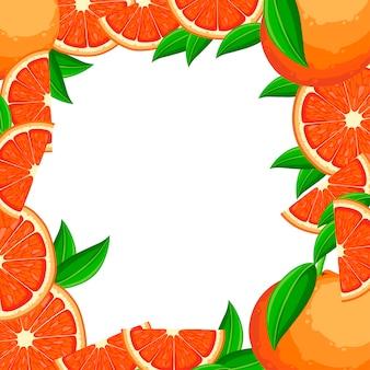 グリーティングカード、パンフレットのデザイン。緑の葉とグレープフルーツのスライスとグレープフルーツ。フラットスタイルのイラスト。装飾的なポスター、エンブレム天然物、ファーマーズマーケット。白色の背景。