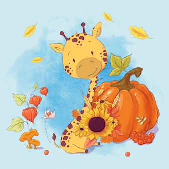 Greeting card cartoon cute giraffe and pumpkin