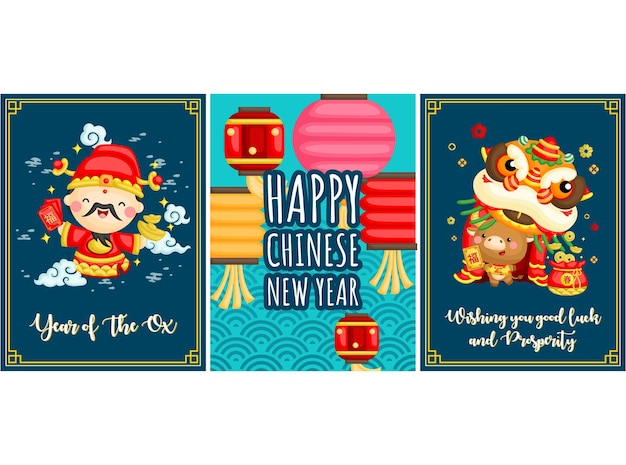 Greeting card for celebrating chinese new year of ox zodiac