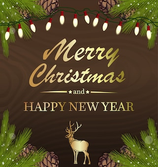 Greeting card for christmas and new year. christmas design with spruce branches and electric garland on a wooden background.
