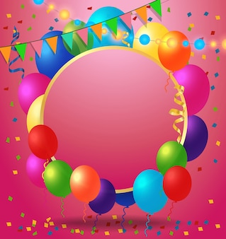 Greeting Card, Confetti and Balloons