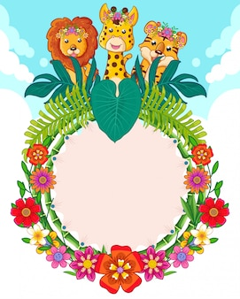 Greeting card of cute animals and flowers
