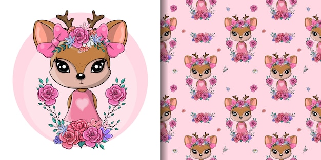 Greeting card cute baby deer with flowers and hearts, seamless pattern