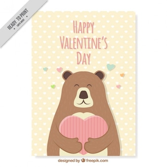 Biglietto di auguri di orso carino per san valentino