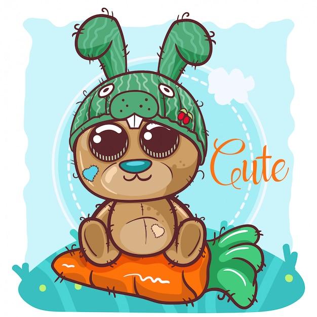 Greeting card cute cartoon bear with bunny hat - vector
