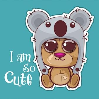 Greeting card cute cartoon bear with a koala hat - vector