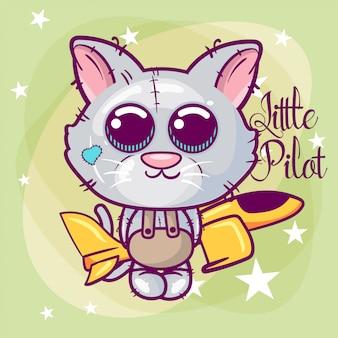 Greeting card cute cartoon cat with a plane