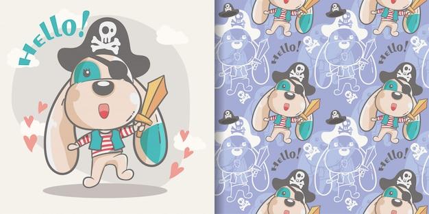 Greeting card cute cartoon dog with seamless pattern